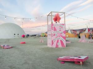 The (Inner) Freak Show booth at sunrise, Burning Man 2015