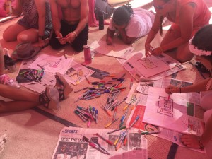 Freaks Making Flags at Pink Heart Camp, Burning Man 2017
