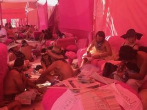 Freaks making flags at Pink Heart Camp at Burning Man 2017.